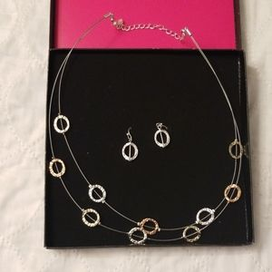 Avon Hammered Illusion Necklace & Earrings Set